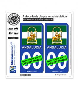 Andalousie - Armoiries Drapées (Espagne) | Autocollant plaque immatriculation