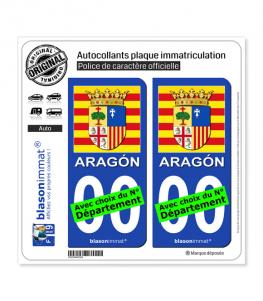 Aragon - Armoiries Drapées (Espagne) | Autocollant plaque immatriculation