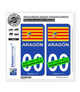 Aragon - Drapeau (Espagne) | Autocollant plaque immatriculation