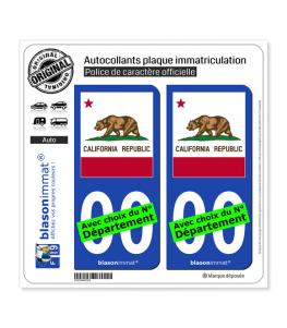 Californie - Drapeau Ajusté (États-Unis) | Autocollant plaque immatriculation