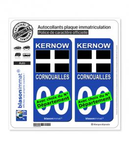 Cornouailles - Drapeau Saint Piran | Autocollant plaque immatriculation