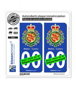 Pays de Galles - Armoiries | Autocollant plaque immatriculation