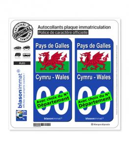 Pays de Galles - Drapeau | Autocollant plaque immatriculation