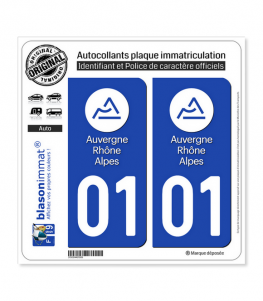 01 Auvergne-Rhône-Alpes - LogoType | Autocollant plaque immatriculation