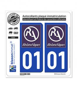 01 Rhône-Alpes - LogoType II | Autocollant plaque immatriculation