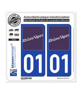 01 Rhône-Alpes - LogoType | Autocollant plaque immatriculation