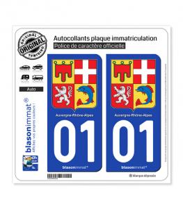 01 Auvergne-Rhône-Alpes - Armoiries | Autocollant plaque immatriculation