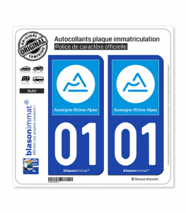 01 Auvergne-Rhône-Alpes - Région | Autocollant plaque immatriculation