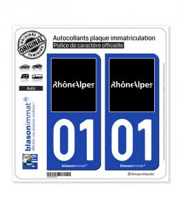 01 Rhône-Alpes - Tourisme | Autocollant plaque immatriculation