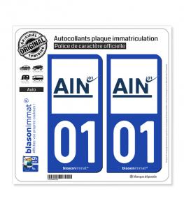 01 Ain - Département | Autocollant plaque immatriculation