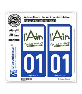 01 Ain - Tourisme | Autocollant plaque immatriculation