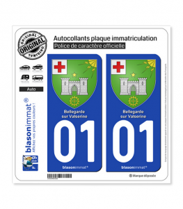 01 Bellegarde-sur-Valserine - Armoiries | Autocollant plaque immatriculation
