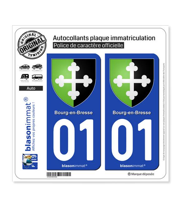 01 Bourg-en-Bresse - Armoiries   Autocollant plaque immatriculation