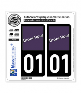 01 Rhône-Alpes - LogoType   Autocollant plaque immatriculation