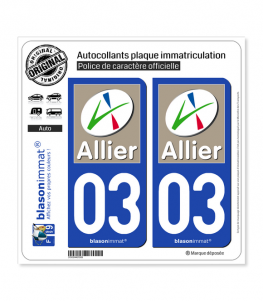 03 Allier - Département | Autocollant plaque immatriculation