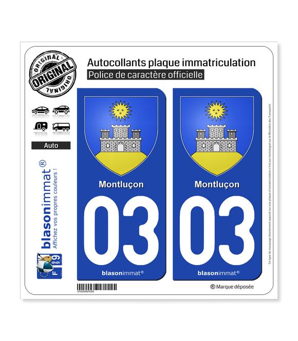 03 Montluçon - Armoiries | Autocollant plaque immatriculation