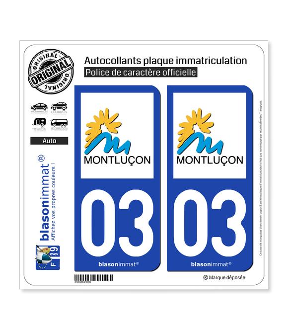03 Montluçon - Ville | Autocollant plaque immatriculation