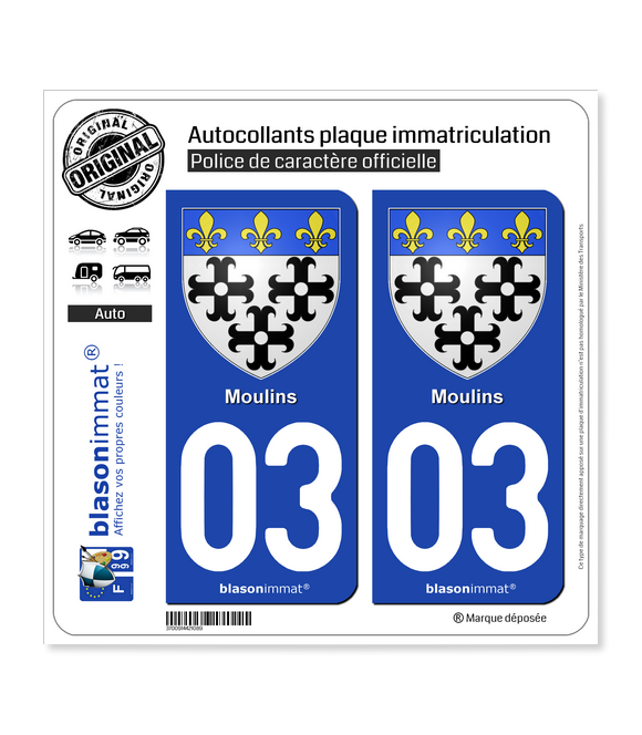 03 Moulins - Armoiries | Autocollant plaque immatriculation