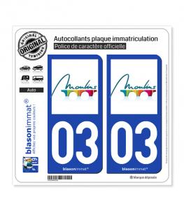 03 Moulins - Ville | Autocollant plaque immatriculation