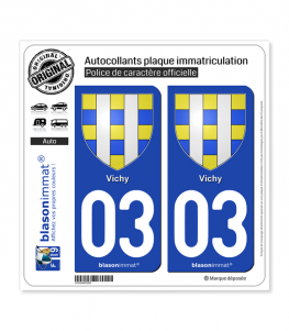 03 Vichy - Armoiries | Autocollant plaque immatriculation