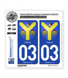 03 Yzeure - Armoiries | Autocollant plaque immatriculation