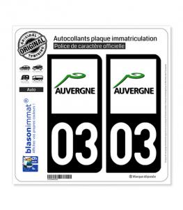 03 Auvergne - LogoType | Autocollant plaque immatriculation