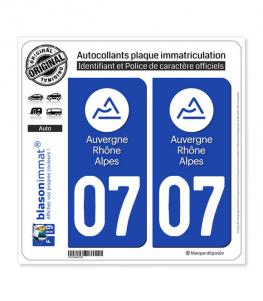 07 Auvergne-Rhône-Alpes - LogoType | Autocollant plaque immatriculation
