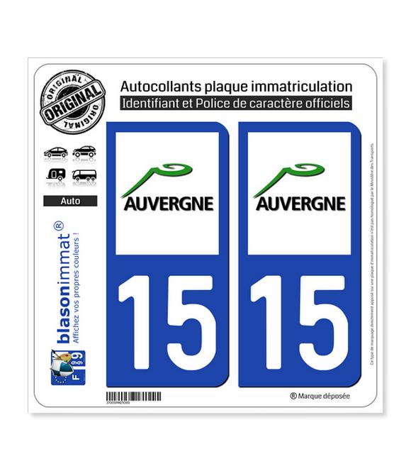 15 Auvergne - LogoType | Autocollant plaque immatriculation