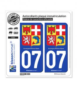 07 Auvergne-Rhône-Alpes - Armoiries | Autocollant plaque immatriculation