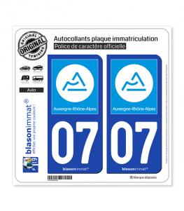 07 Auvergne-Rhône-Alpes - Région | Autocollant plaque immatriculation