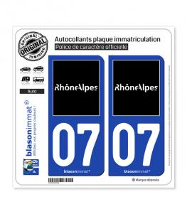 07 Rhône-Alpes - Tourisme | Autocollant plaque immatriculation