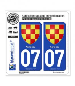 07 Annonay - Armoiries | Autocollant plaque immatriculation