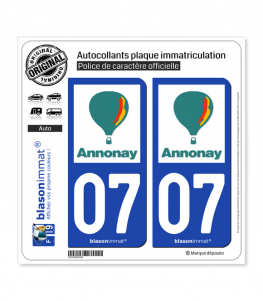 07 Annonay - Ville | Autocollant plaque immatriculation
