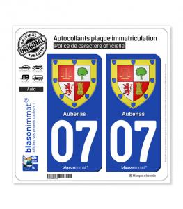 07 Aubenas - Armoiries | Autocollant plaque immatriculation