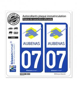 07 Aubenas - Ville | Autocollant plaque immatriculation