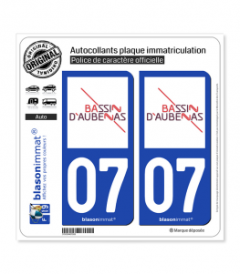 07 Aubenas - Agglo | Autocollant plaque immatriculation