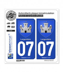 07 Largentière - Armoiries | Autocollant plaque immatriculation