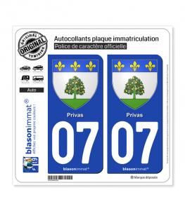 07 Privas - Armoiries | Autocollant plaque immatriculation