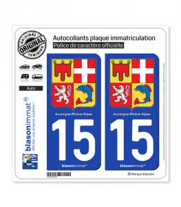 15 Auvergne-Rhône-Alpes - Armoiries | Autocollant plaque immatriculation