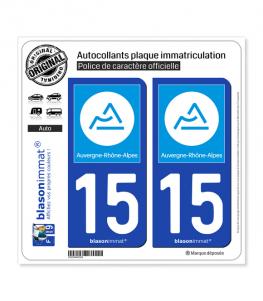 15 Auvergne-Rhône-Alpes - Région | Autocollant plaque immatriculation