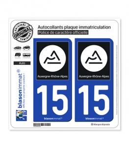15 Auvergne-Rhône-Alpes - Région II | Autocollant plaque immatriculation