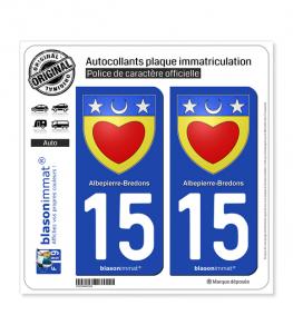 15 Albepierre-Bredons - Armoiries | Autocollant plaque immatriculation