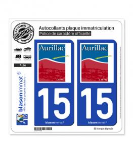 15 Aurillac - Ville | Autocollant plaque immatriculation