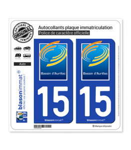 15 Aurillac - Agglo | Autocollant plaque immatriculation