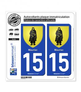 15 Mauriac - Armoiries | Autocollant plaque immatriculation