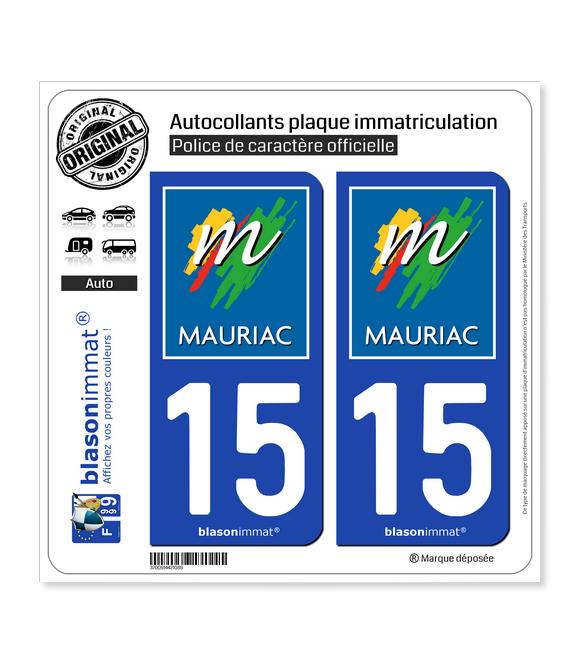 15 Mauriac - Ville | Autocollant plaque immatriculation