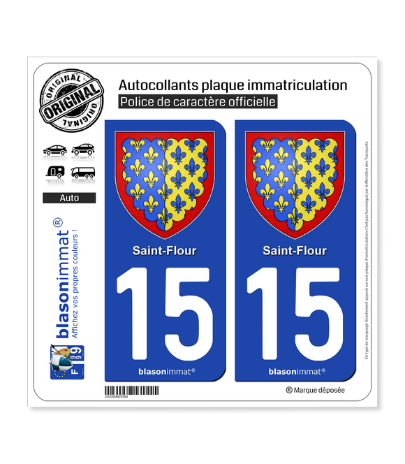 15 Saint-Flour - Armoiries | Autocollant plaque immatriculation