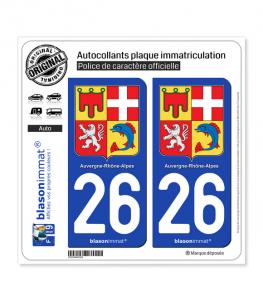26 Auvergne-Rhône-Alpes - Armoiries | Autocollant plaque immatriculation