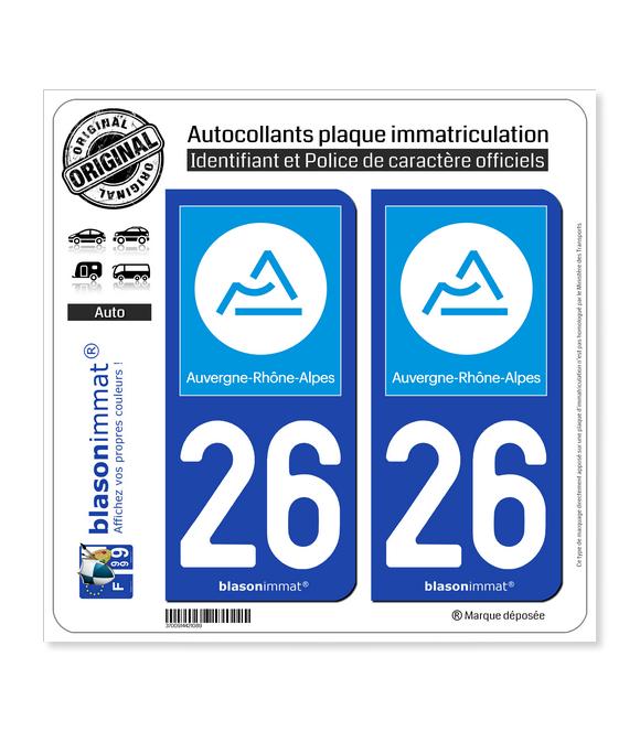 26 Auvergne-Rhône-Alpes - Région | Autocollant plaque immatriculation