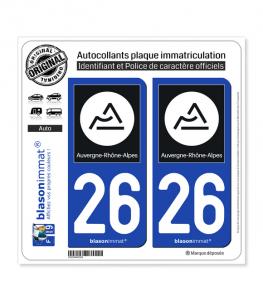 26 Auvergne-Rhône-Alpes - Région II | Autocollant plaque immatriculation